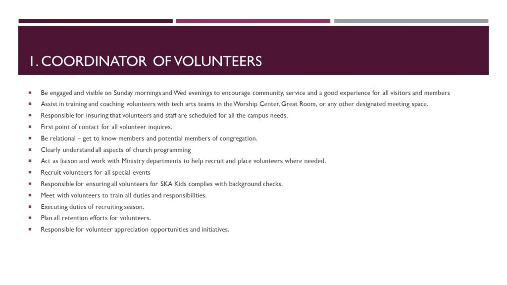 Cordinator of Volunteers